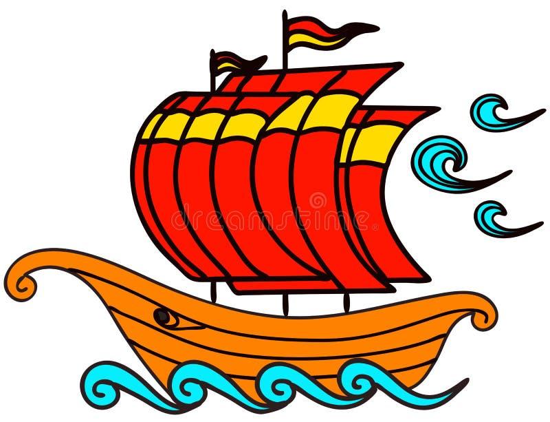Χαριτωμένη βάρκα κινούμενων σχεδίων, απεικόνιση αποθεμάτων