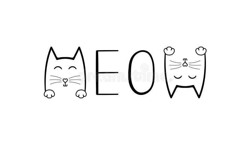 Χαριτωμένη γάτα γραφική Meow εγγραφή γραφής διανυσματική απεικόνιση