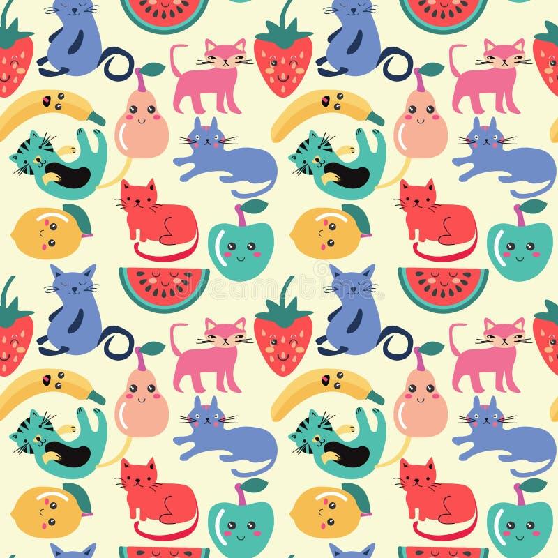 Χαριτωμένη γάτα και άνευ ραφής σχέδιο θερινών φρούτων διανυσματική απεικόνιση