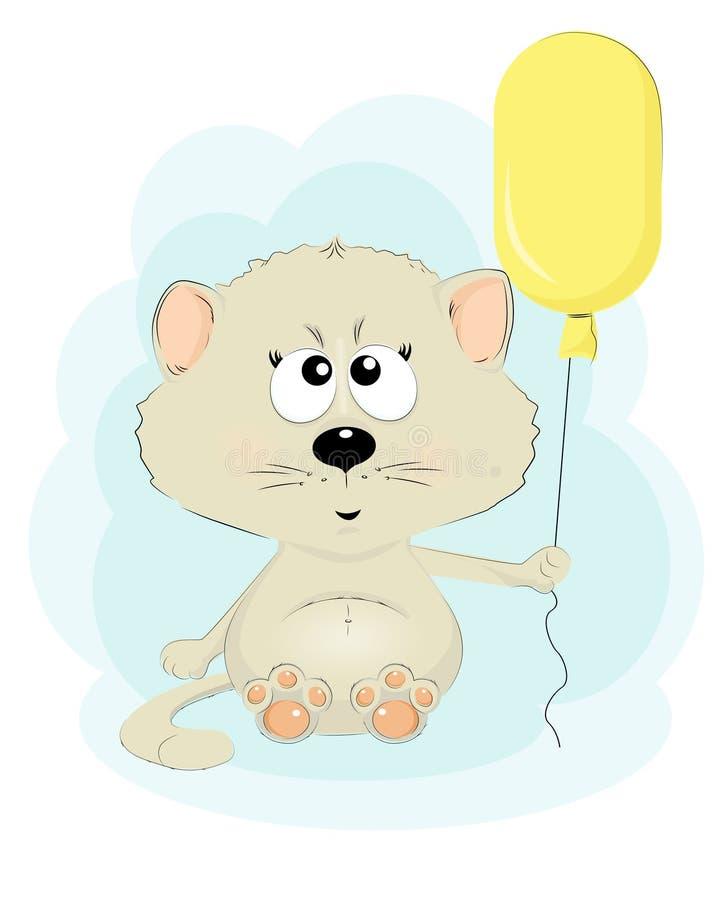 Χαριτωμένη γάτα με ένα μπαλόνι ελεύθερη απεικόνιση δικαιώματος