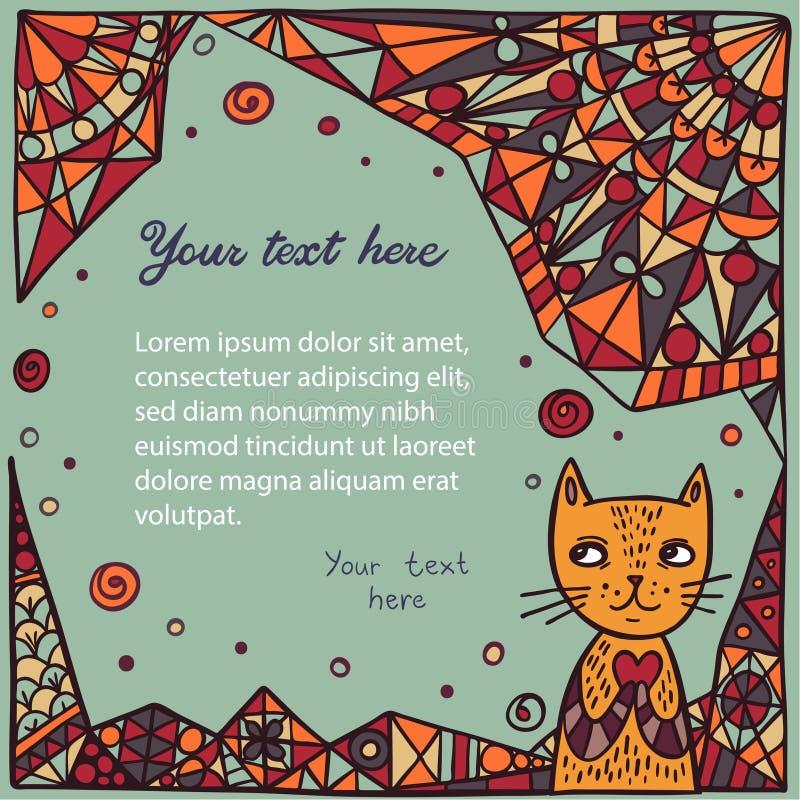 Χαριτωμένη γάτα στο αφηρημένο υπόβαθρο απεικόνιση αποθεμάτων