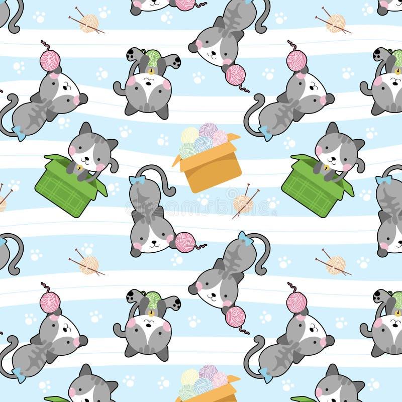 Χαριτωμένη γάτα στο διανυσματικό άνευ ραφής σχέδιο κιβωτίων διανυσματική απεικόνιση