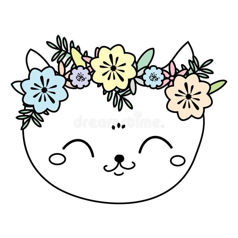 Χαριτωμένη γάτα στο στεφάνι λουλουδιών Γλυκό πρόσωπο γατακιών, θερινή διάθεση διανυσματική απεικόνιση