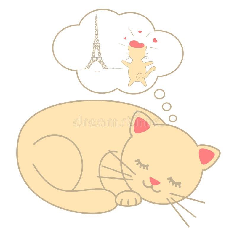 Χαριτωμένη γάτα ύπνου κινούμενων σχεδίων που ονειρεύεται την απεικόνιση του Παρισιού που απομονώνεται στο άσπρο υπόβαθρο ελεύθερη απεικόνιση δικαιώματος