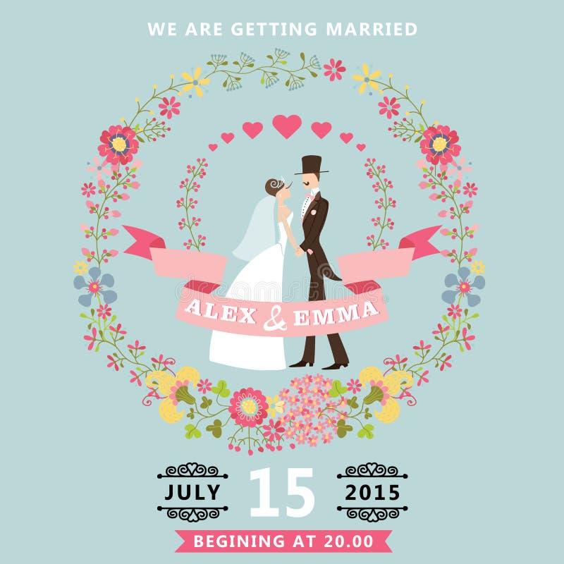 Χαριτωμένη γαμήλια πρόσκληση με τη νύφη, νεόνυμφος, floral στεφάνι διανυσματική απεικόνιση