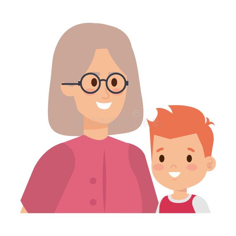 Χαριτωμένη γιαγιά με τον εγγονό διανυσματική απεικόνιση