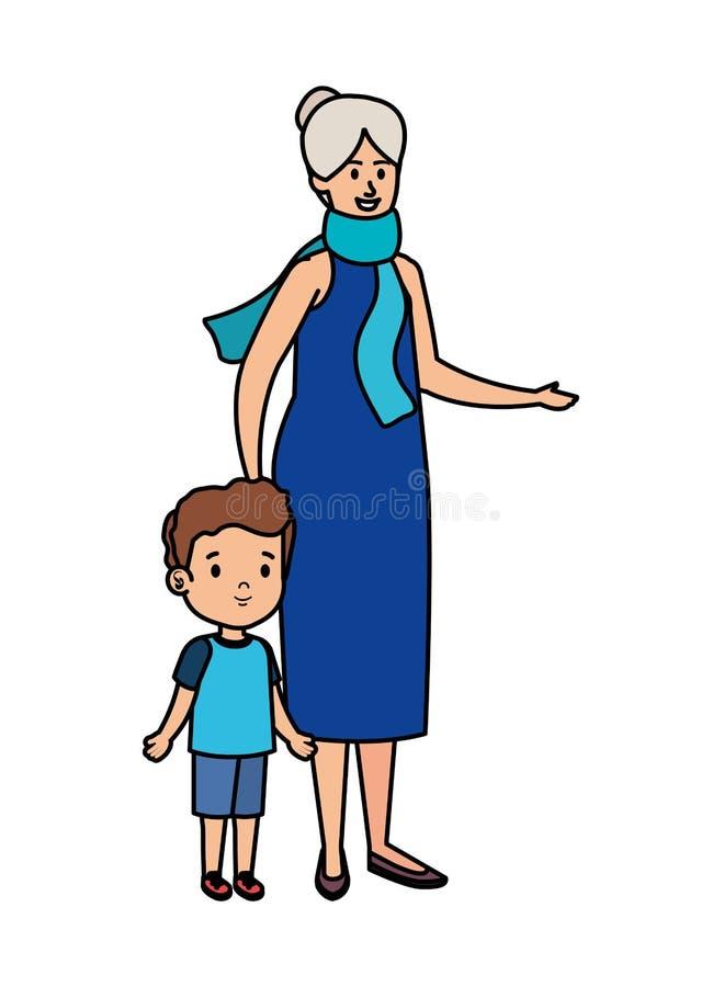 Χαριτωμένη γιαγιά με τον εγγονό απεικόνιση αποθεμάτων