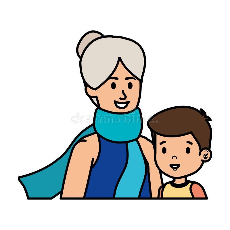 Χαριτωμένη γιαγιά με τον εγγονό ελεύθερη απεικόνιση δικαιώματος