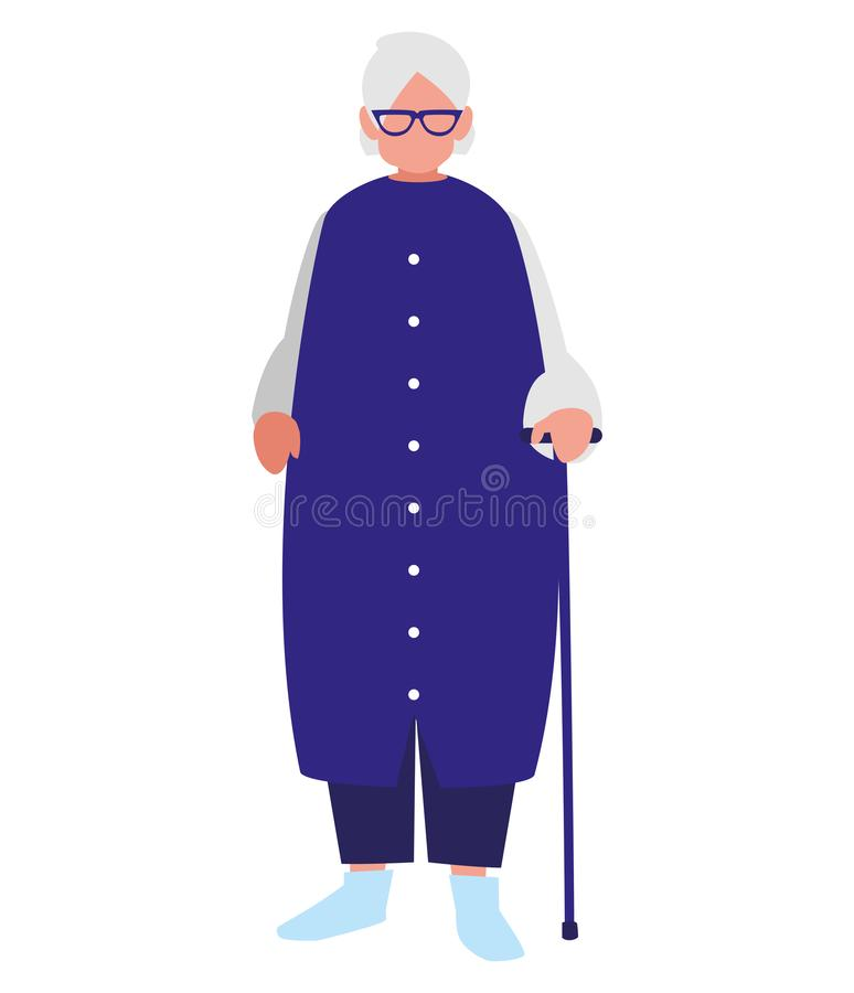 Χαριτωμένη γιαγιά με τον κάλαμο διανυσματική απεικόνιση