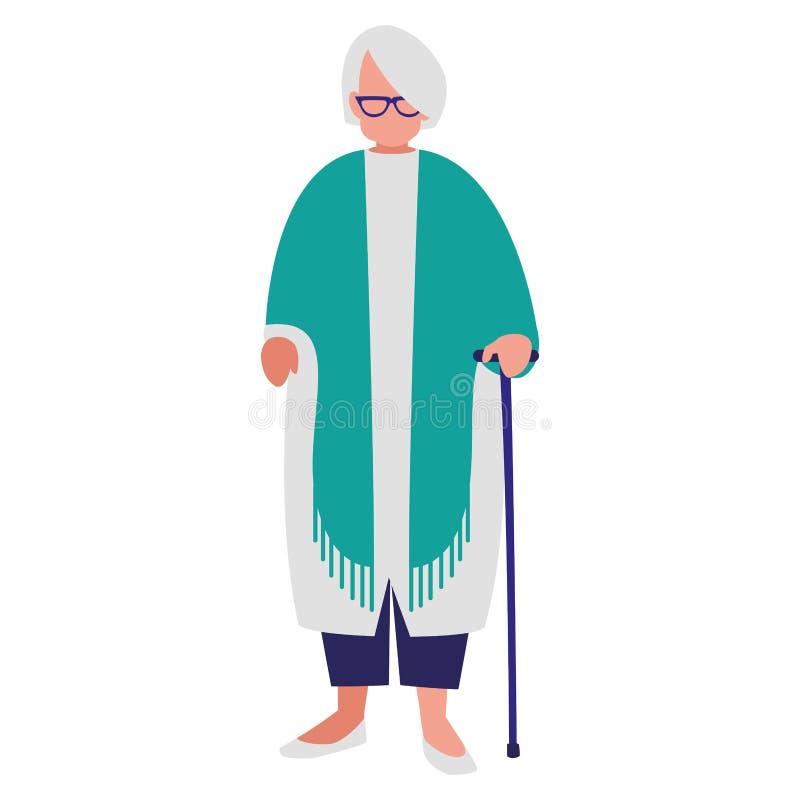 Χαριτωμένη γιαγιά με τον κάλαμο ελεύθερη απεικόνιση δικαιώματος