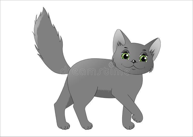Χαριτωμένη γκρίζα γάτα κινούμενων σχεδίων διανυσματική απεικόνιση
