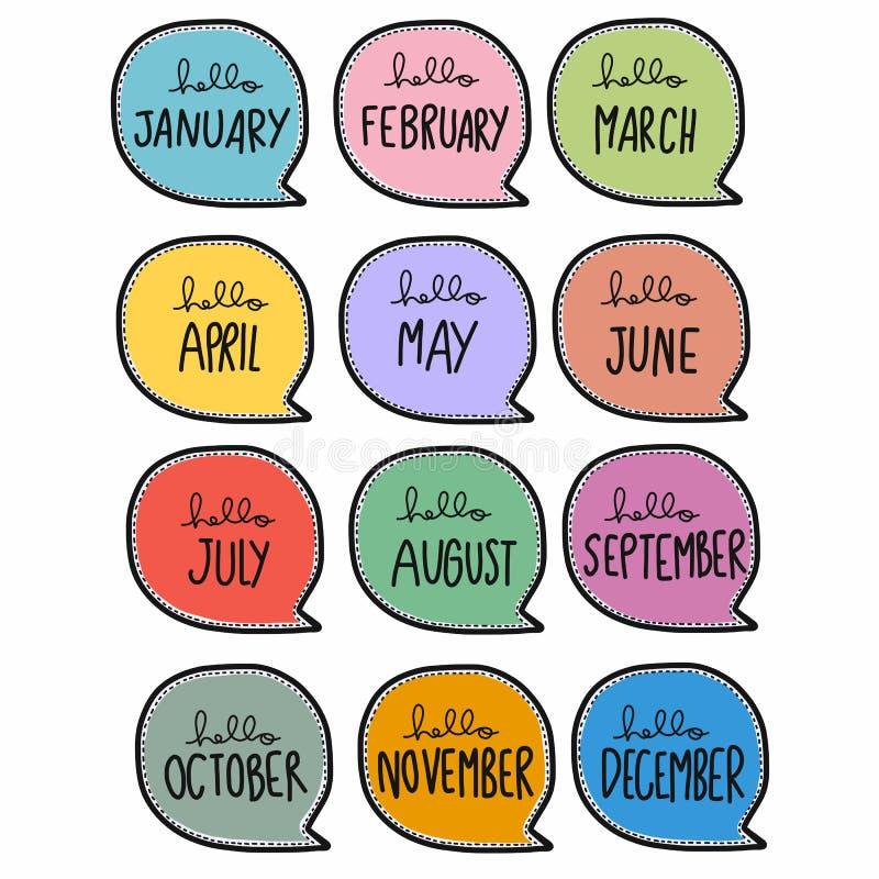 Χαριτωμένη γραφή 12 μηνών στην απεικόνιση πολύχρωμου σκίτσου ελεύθερη απεικόνιση δικαιώματος