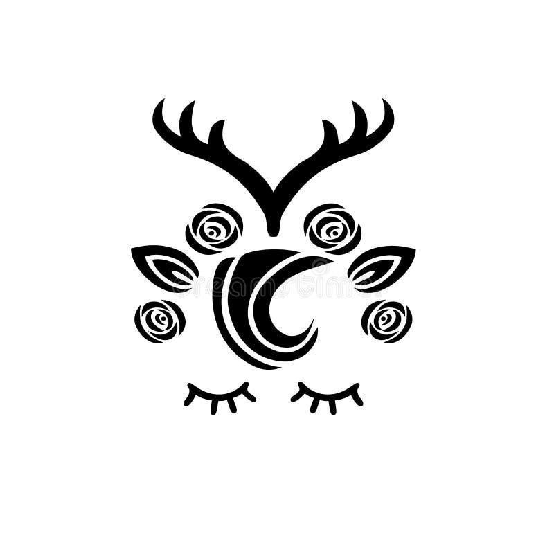 Χαριτωμένη διανυσματική απεικόνιση ελαφιών ως λογότυπο, διακριτικό, μπάλωμα ελεύθερη απεικόνιση δικαιώματος