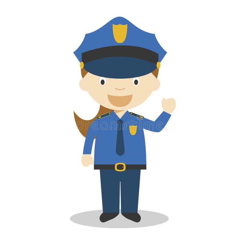 Χαριτωμένη διανυσματική απεικόνιση κινούμενων σχεδίων μιας αστυνομικίνας Σειρά επαγγελμάτων γυναικών διανυσματική απεικόνιση
