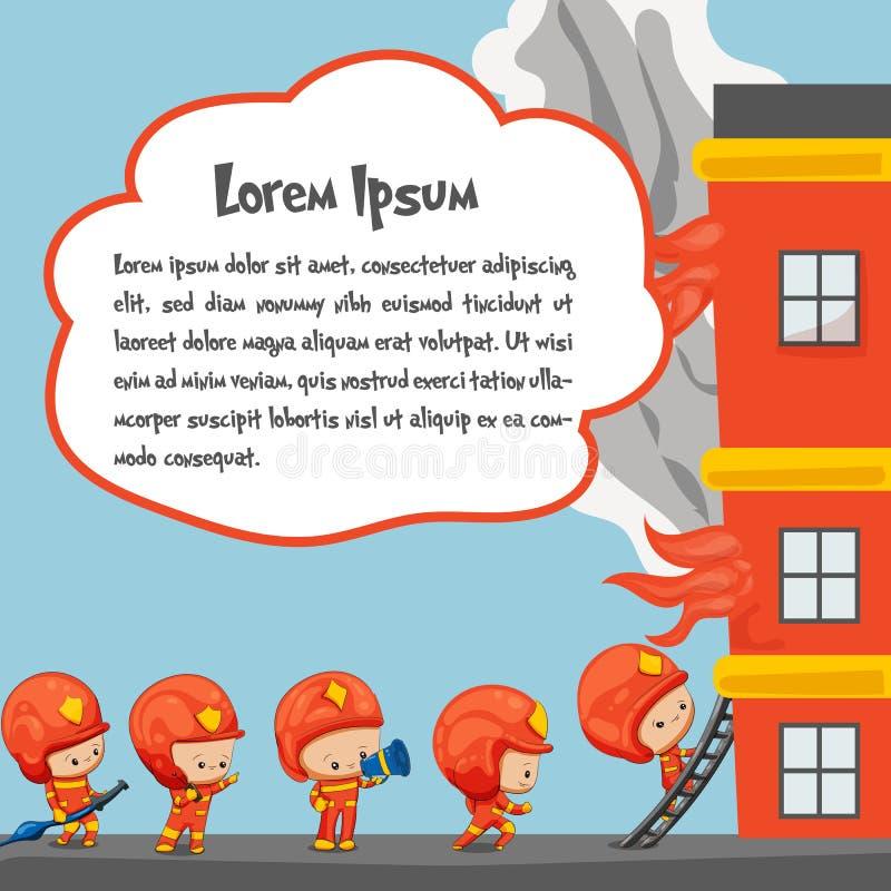 Χαριτωμένη διανυσματική απεικόνιση πυροσβεστών απεικόνιση αποθεμάτων