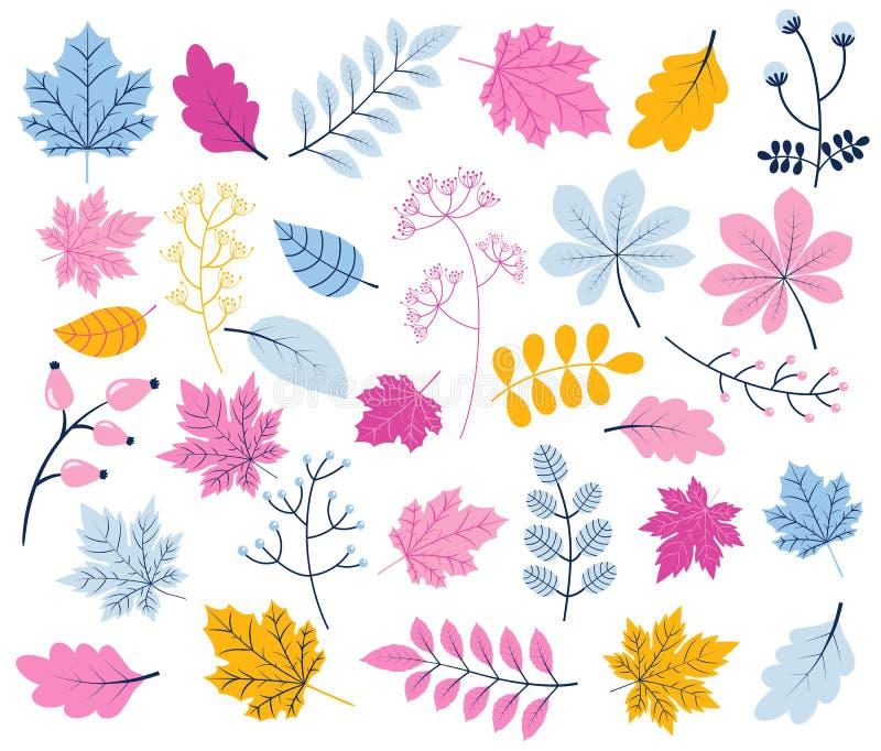 Χαριτωμένη διανυσματική συλλογή φυλλώματος με τα φύλλα δέντρων απεικόνιση αποθεμάτων