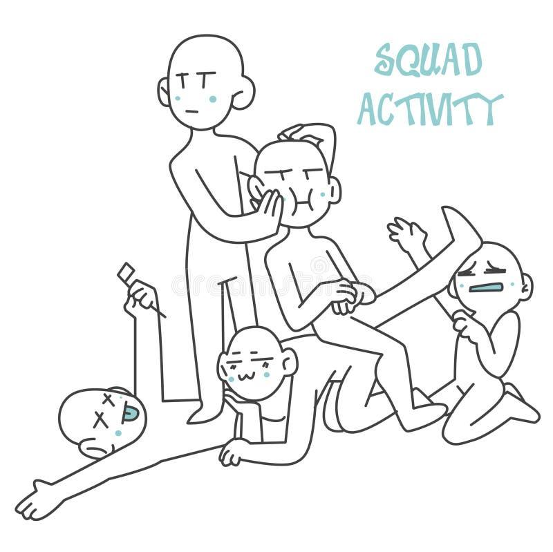 χαριτωμένη δραστηριότητα χαρακτήρα ομάδων απεικόνισης ελεύθερη απεικόνιση δικαιώματος