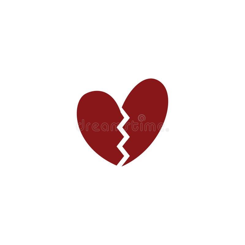Χαριτωμένη εικονίδιο heartbreak ή έννοια λογότυπων απεικόνιση αποθεμάτων
