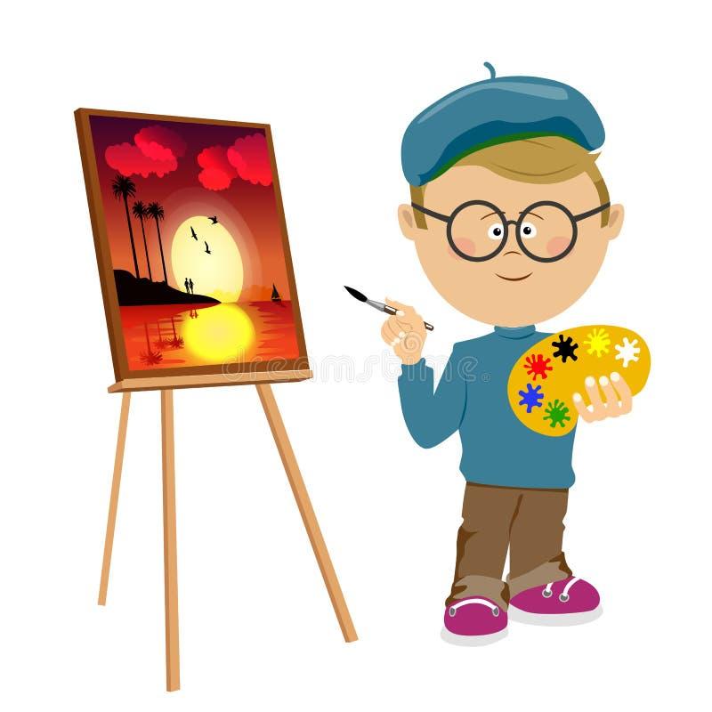 Χαριτωμένη εικόνα χρωμάτων ζωγραφικής καλλιτεχνών μικρών παιδιών easel στο λευκό διανυσματική απεικόνιση