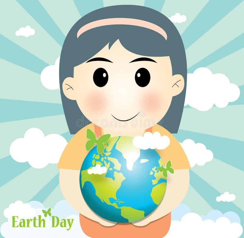 Χαριτωμένη εκμετάλλευση κοριτσιών ο κόσμος, η γήινη ημέρα έννοιας και η οικολογία ελεύθερη απεικόνιση δικαιώματος