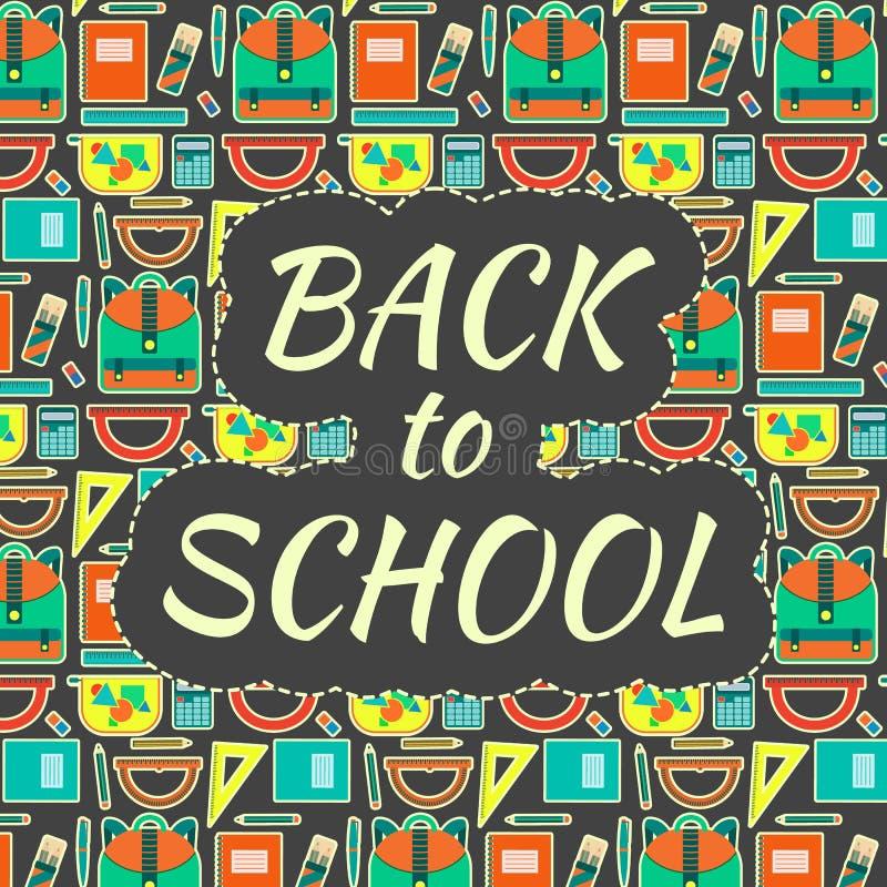 Χαριτωμένη εκπαιδευτική ζωηρόχρωμη διανυσματική αφίσα παιδιών με το σχολικό εξοπλισμό με αστείο πίσω στο σχολικό κείμενο στο υπόβ διανυσματική απεικόνιση