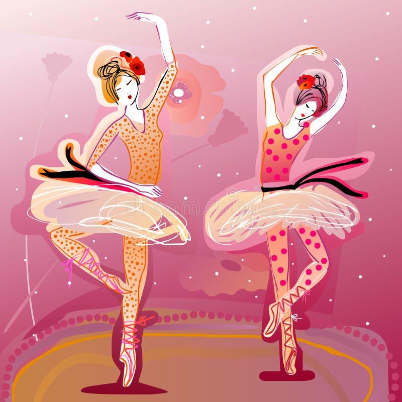 Χαριτωμένη εκτέλεση χορευτών μπαλέτου ελεύθερη απεικόνιση δικαιώματος