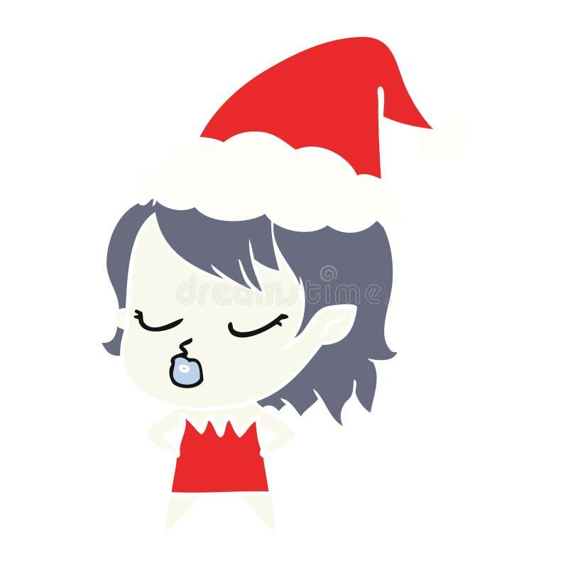 χαριτωμένη επίπεδη έγχρωμη εικονογράφηση ενός κοριτσιού βαμπίρ που φορά το καπέλο santa ελεύθερη απεικόνιση δικαιώματος