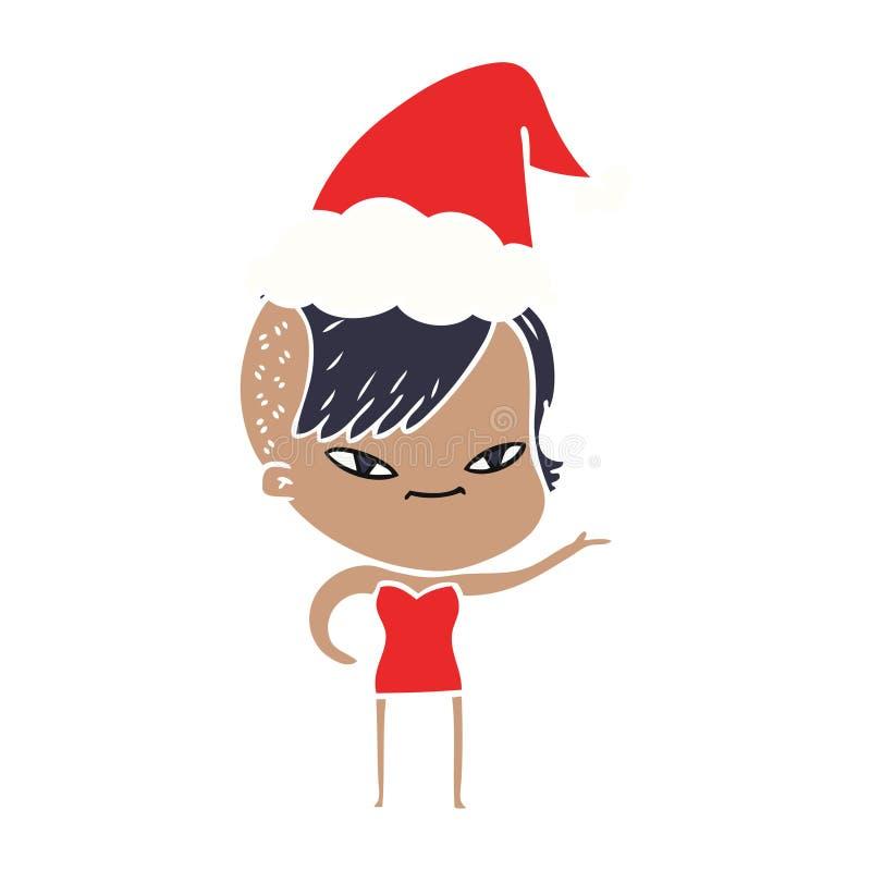 χαριτωμένη επίπεδη έγχρωμη εικονογράφηση ενός κοριτσιού με το κούρεμα hipster που φορά το καπέλο santa διανυσματική απεικόνιση
