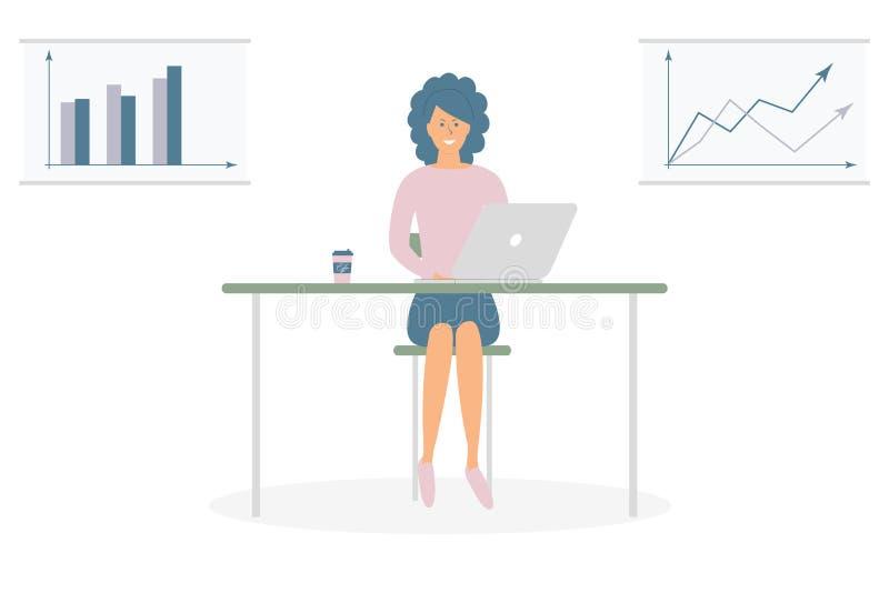 Χαριτωμένη εργασία γυναικών freelancer από τον υπολογιστή στον πίνακα Επιτυχής θηλυκός χαρακτήρας Νέος ήρεμος ανεξάρτητος εργαζόμ ελεύθερη απεικόνιση δικαιώματος