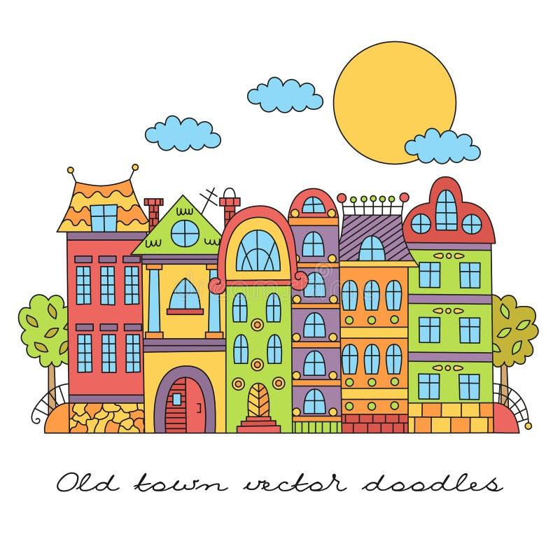Χαριτωμένη ευρωπαϊκή πόλη αρχιτεκτονικής doodles scape διανυσματική απεικόνιση