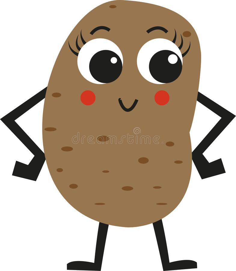 Χαριτωμένη ευτυχής απεικόνιση πατατών στοκ εικόνα