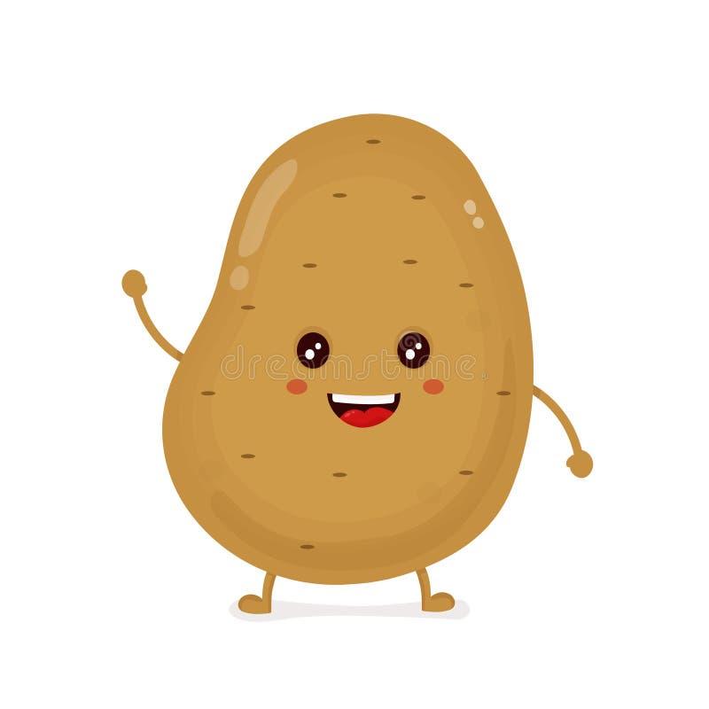 Χαριτωμένη ευτυχής αστεία πατάτα χαμόγελου διάνυσμα ελεύθερη απεικόνιση δικαιώματος