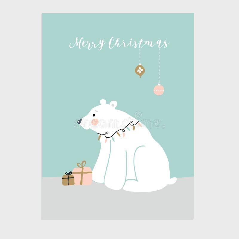 Χαριτωμένη ευχετήρια κάρτα Χαρούμενα Χριστούγεννας, πρόσκληση με λίγη πολική αρκούδα, κιβώτια δώρων και κρεμώντας διακοσμήσεις Ch διανυσματική απεικόνιση