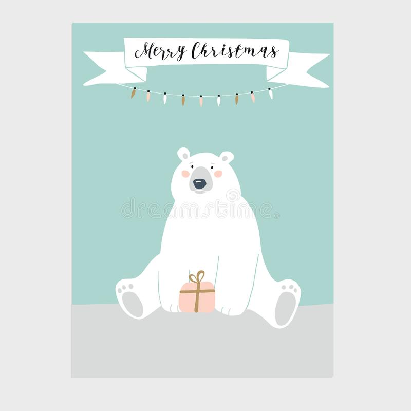 Χαριτωμένη ευχετήρια κάρτα Χαρούμενα Χριστούγεννας, πρόσκληση με το κιβώτιο δώρων εκμετάλλευσης πολικών αρκουδών Έμβλημα κορδελλώ διανυσματική απεικόνιση