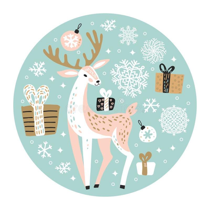 Χαριτωμένη ευχετήρια κάρτα Χριστουγέννων, πρόσκληση για ταράνδους, μπαλάκια δέντρου Xmas, νιφάδες χιονιού και κουτιά δώρων Κύκλος ελεύθερη απεικόνιση δικαιώματος