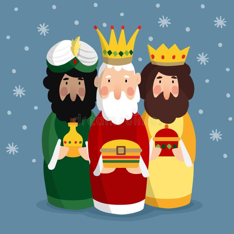 Χαριτωμένη ευχετήρια κάρτα Χριστουγέννων, πρόσκληση με τρεις μάγους Βιβλικοί βασιλιάδες Caspar, Melchior και Balthazar διάνυσμα διανυσματική απεικόνιση