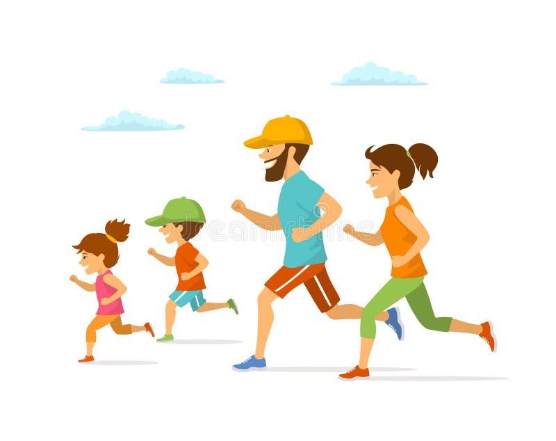 Χαριτωμένη εύθυμη οικογένεια κινούμενων σχεδίων που τρέχει jogging η μαζί απομονωμένη διανυσματική υπαίθρια άσκηση ι απεικόνισης ελεύθερη απεικόνιση δικαιώματος