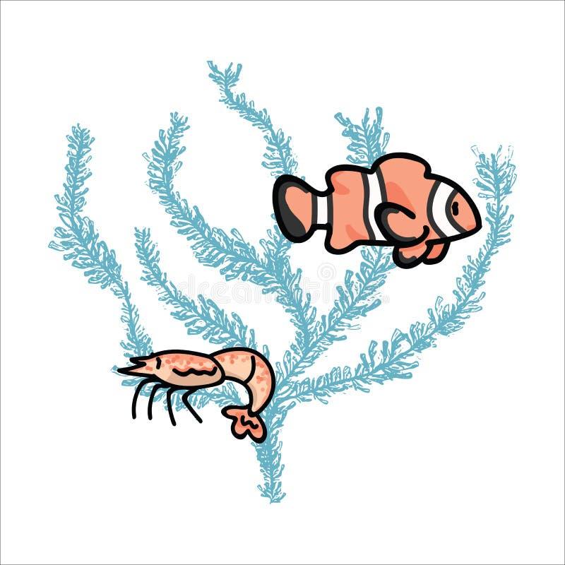 Χαριτωμένη ζωή θάλασσας στο διανυσματικό σύνολο μοτίβου απεικόνισης κινούμενων σχεδίων κοραλλιογενών υφάλων Συρμένα χέρι απομονωμ διανυσματική απεικόνιση