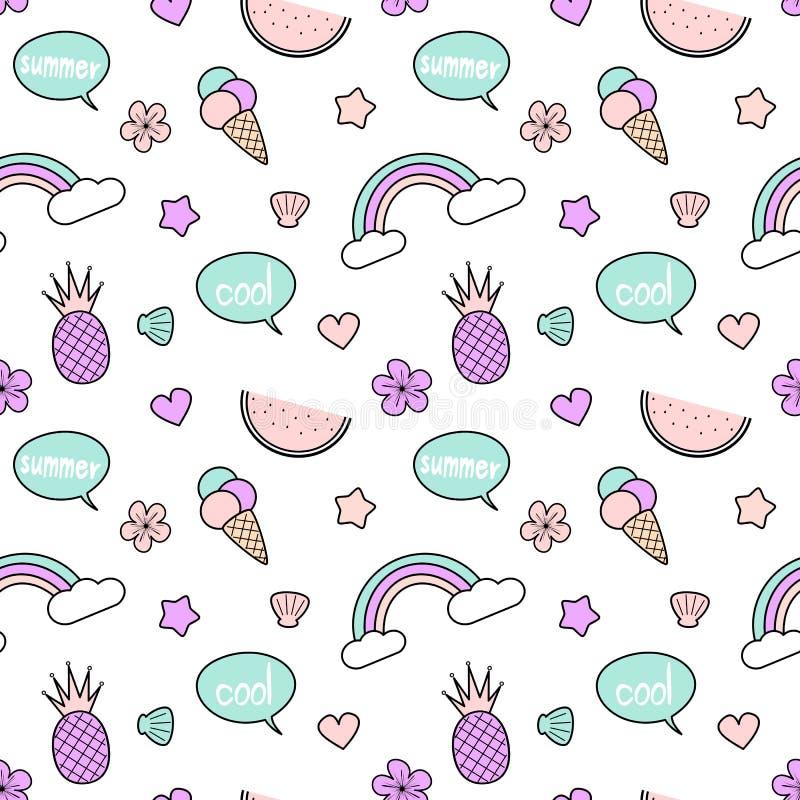 Χαριτωμένη ζωηρόχρωμη άνευ ραφής απεικόνιση υποβάθρου σχεδίων με τους ανανάδες, ουράνιο τόξο, λεκτική φυσαλίδα, παγωτό, αστέρια,  διανυσματική απεικόνιση