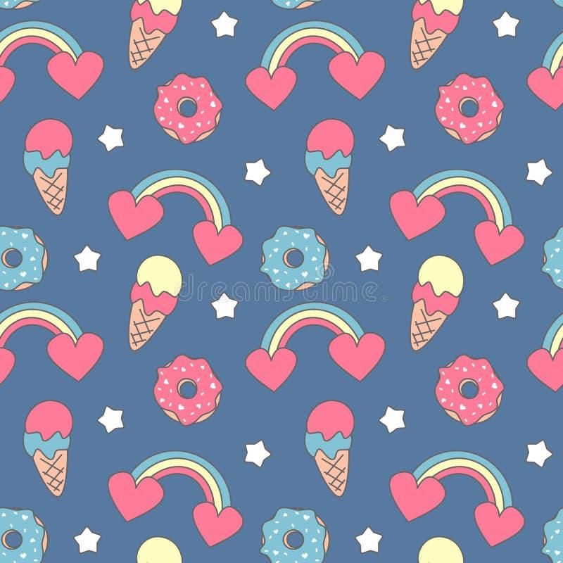 Χαριτωμένη ζωηρόχρωμη άνευ ραφής διανυσματική απεικόνιση υποβάθρου σχεδίων με τα ουράνια τόξα, τις καρδιές, το παγωτό, donuts και διανυσματική απεικόνιση
