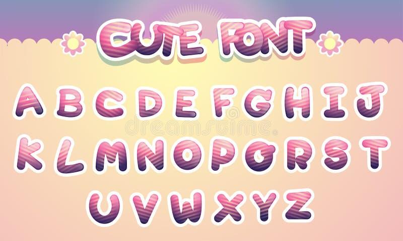 Χαριτωμένη ζωηρόχρωμη αστεία πηγή αλφάβητου επιστολών Διάνυσμα κινούμενων σχεδίων illust ελεύθερη απεικόνιση δικαιώματος