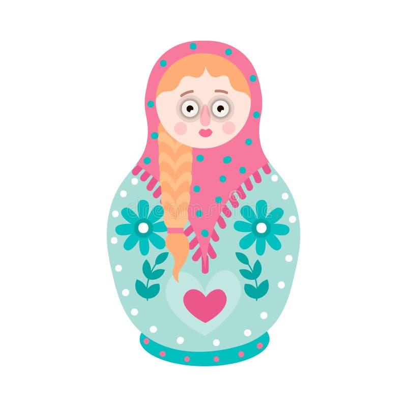 Χαριτωμένη ζωηρόχρωμη να τοποθετηθεί αναμνηστικών κούκλα, σχέδιο λουλουδιών ελεύθερη απεικόνιση δικαιώματος