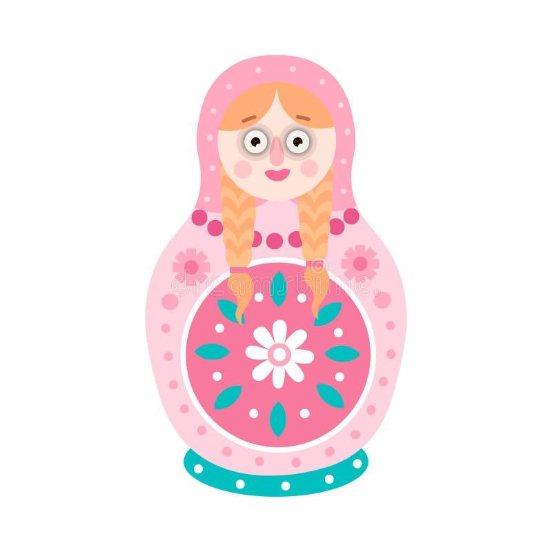 Χαριτωμένη ζωηρόχρωμη ξανθή να τοποθετηθεί τρίχας κούκλα, ρωσικό παιχνίδι ελεύθερη απεικόνιση δικαιώματος