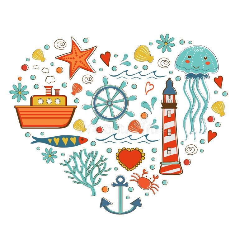 Χαριτωμένη ζωηρόχρωμη συλλογή θάλασσας με τα διάφορα στοιχεία διανυσματική απεικόνιση