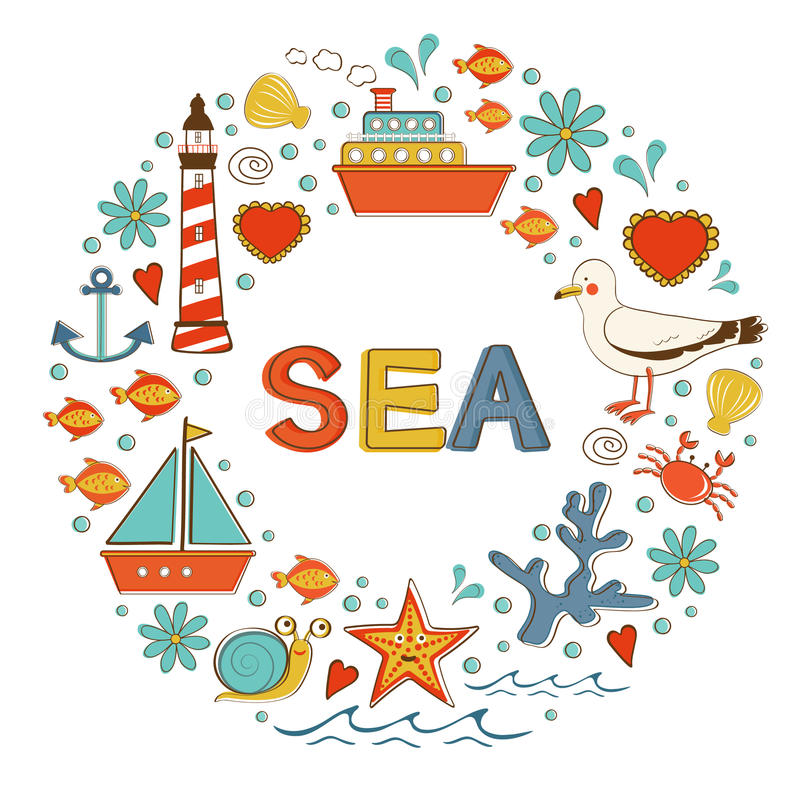 Χαριτωμένη ζωηρόχρωμη συλλογή θάλασσας με τα διάφορα στοιχεία ελεύθερη απεικόνιση δικαιώματος