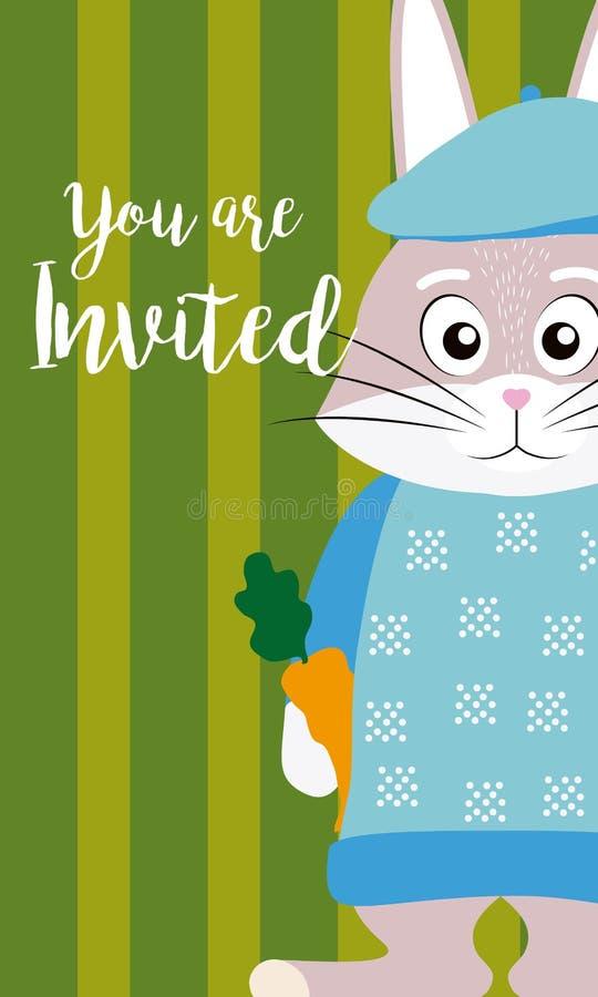 Χαριτωμένη ζωική κάρτα πρόσκλησης κινούμενων σχεδίων κουνελιών διανυσματική απεικόνιση