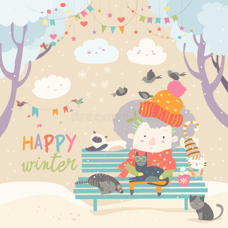 Χαριτωμένη ηλικιωμένη γυναίκα με το γατάκι και το πουλί στο χειμερινό πάρκο ελεύθερη απεικόνιση δικαιώματος