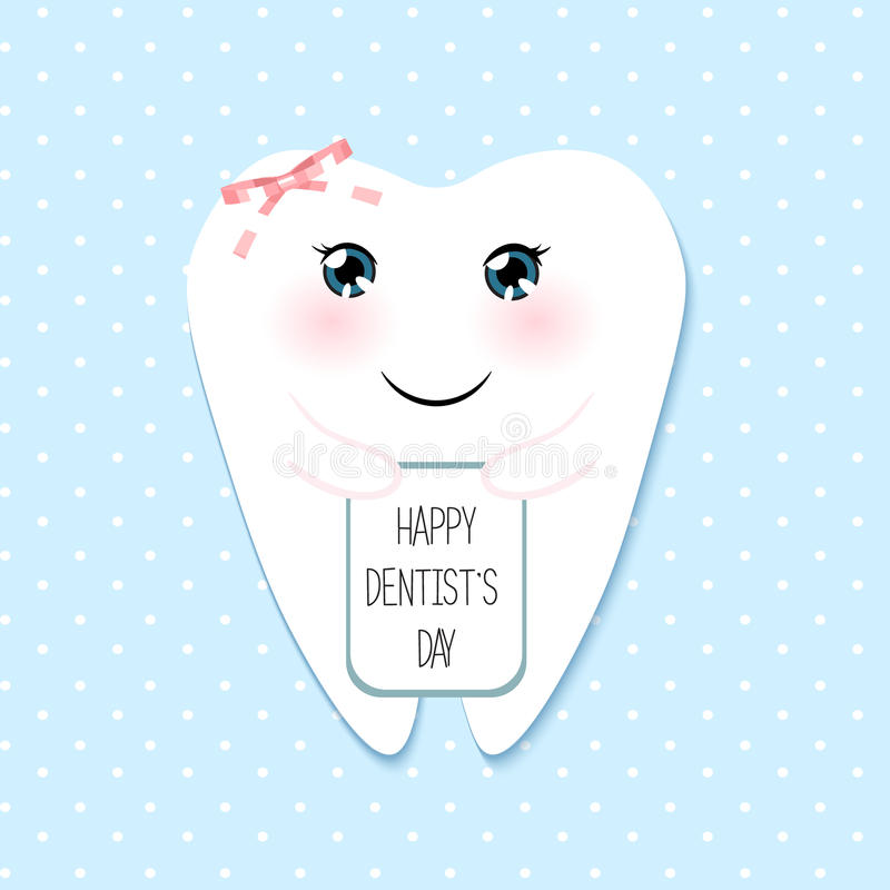 Χαριτωμένη ημέρα οδοντιάτρων ευχετήριων καρτών ευτυχής διανυσματική απεικόνιση