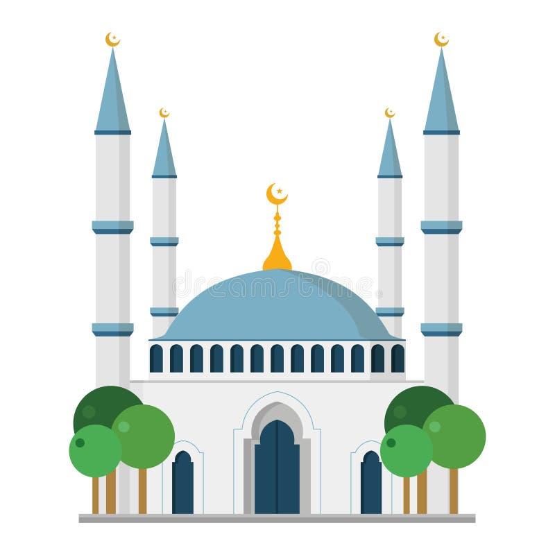 Χαριτωμένη διανυσματική απεικόνιση κινούμενων σχεδίων ενός μουσουλμανικού τεμένους απεικόνιση αποθεμάτων