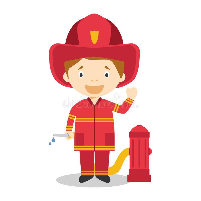Χαριτωμένη διανυσματική απεικόνιση κινούμενων σχεδίων ενός πυροσβέστη ελεύθερη απεικόνιση δικαιώματος